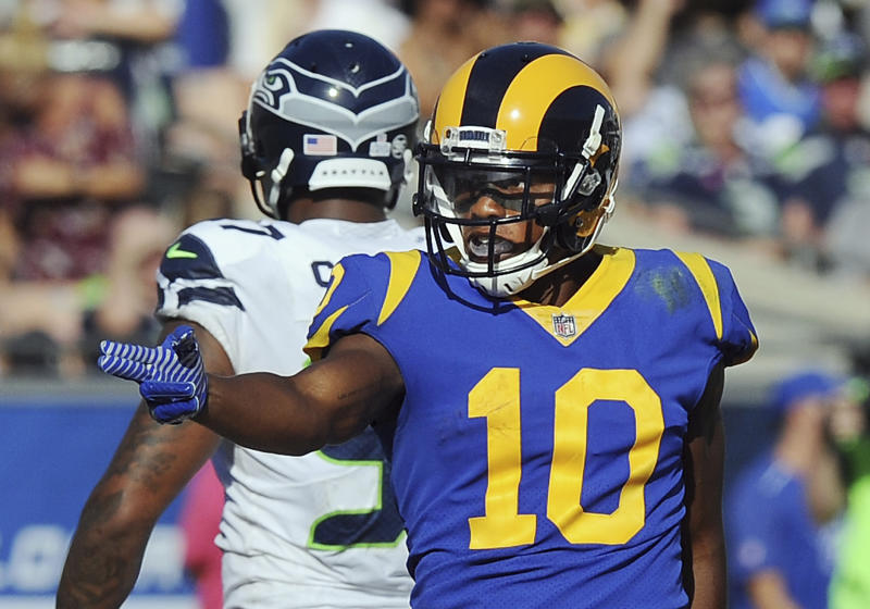 Los Angeles Rams receiver Pharaoh Cooper in the blue-and-yellow uniform the team wants to wear more often in 2018. (AP)