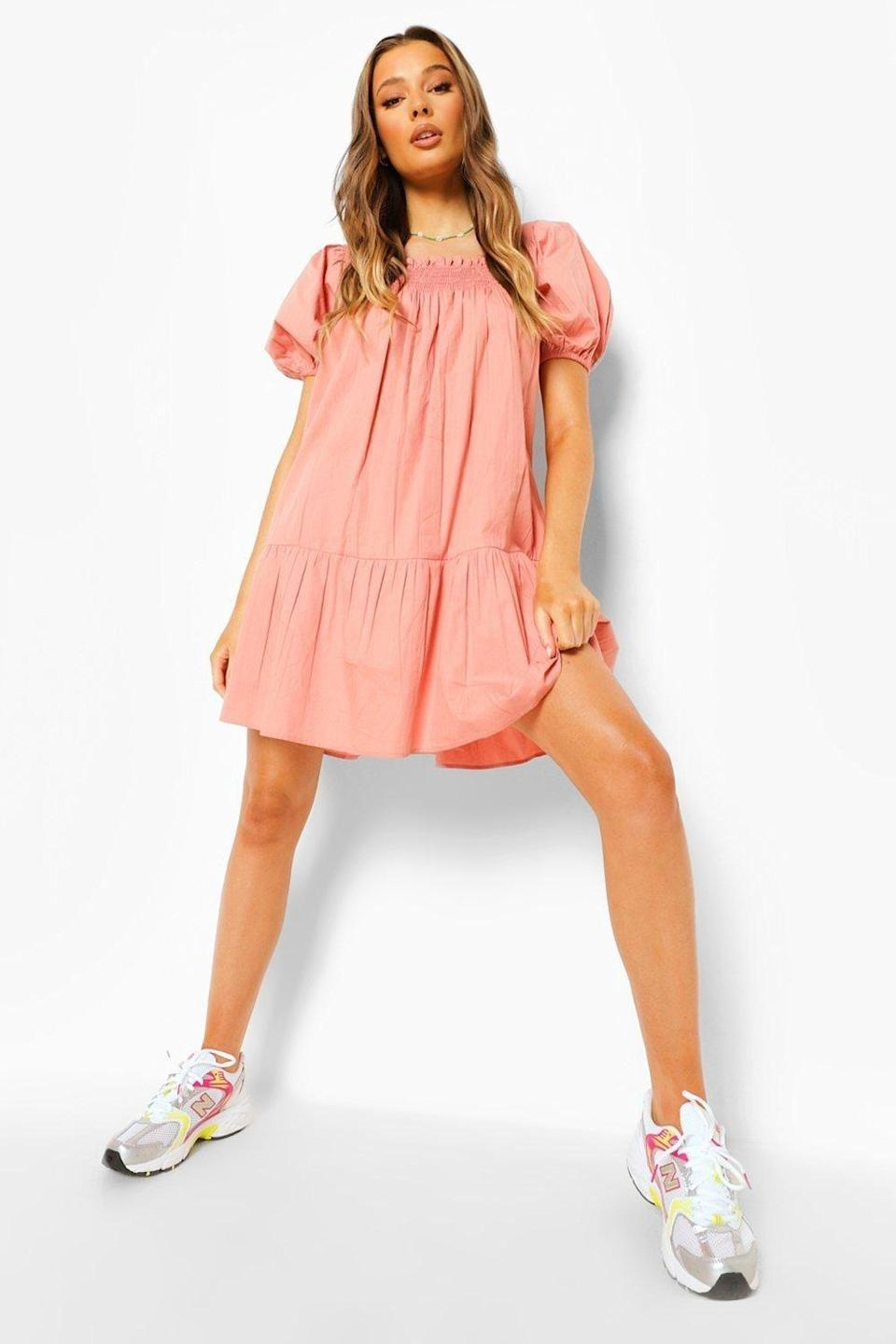 "<p><strong>Boohoo</strong></p><p><strong>$50.00</strong></p><p><a href=""https://go.redirectingat.com?id=74968X1596630&url=https%3A%2F%2Fus.boohoo.com%2Fsquare-neck-puff-sleeve-smock-dress%2FFZZ07909.html%3Fcolor%3D152&sref=https%3A%2F%2Fwww.cosmopolitan.com%2Fstyle-beauty%2Ffashion%2Fg35681349%2Fboohoo-50-percent-off-hauliday-sale%2F"" rel=""nofollow noopener"" target=""_blank"" data-ylk=""slk:Shop Now"" class=""link rapid-noclick-resp"">Shop Now</a></p>"