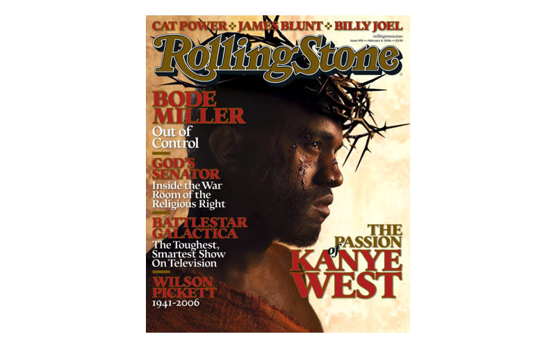 <p>Kanye West dressed as Jesus on the cover of Rolling Stone back in 2006 playing reference to the 1968 cover of <em>Esquire</em> which starred Muhammad Ali in a similar pose. <em>[Photo: Rolling Stone]</em> </p>