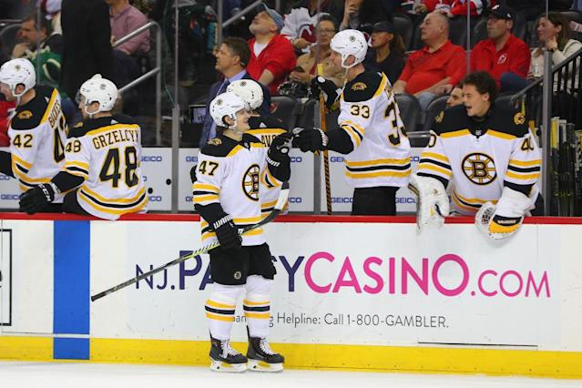 "The <a class=""link rapid-noclick-resp"" href=""/nhl/teams/bos/"" data-ylk=""slk:Boston Bruins"">Boston Bruins</a> have been utterly dominant in the last two months. (Getty Images)"