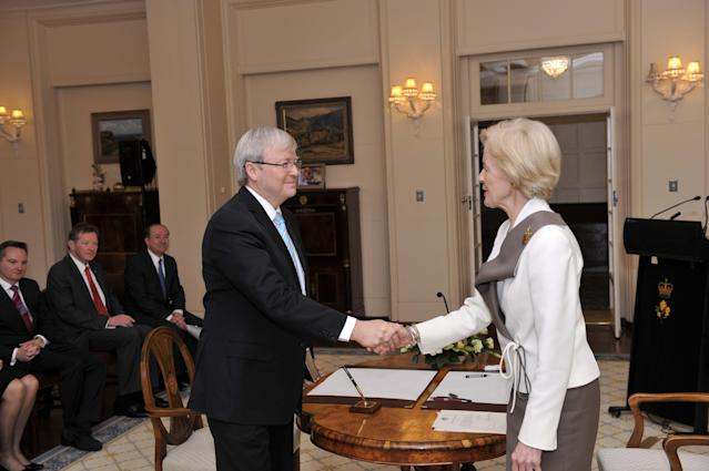 CANBERRA, AUSTRALIA - JUNE 27: In this handout photo provided by the AUSPIC, Kevin Rudd is sworn in to the role of Prime Minister of Australia, by the Governor-General Quentin Bryce at Government House, on June 27, 2013 in Canberra, Australia. Kevin Rudd won an Australian Labor Party leadership ballot 57-45 last night, and was sworn in this morning as Australian Prime Minister by Governor-General Quentin Bryce. Rudd was Prime Minister from 2007 to 2010 before he was dumped by his party for his deputy Julia Gillard. Gillard has announced that she will leave parliament and not contest her seat following her ballot loss. (Photo by David Foote/AUSPIC via Getty Images)