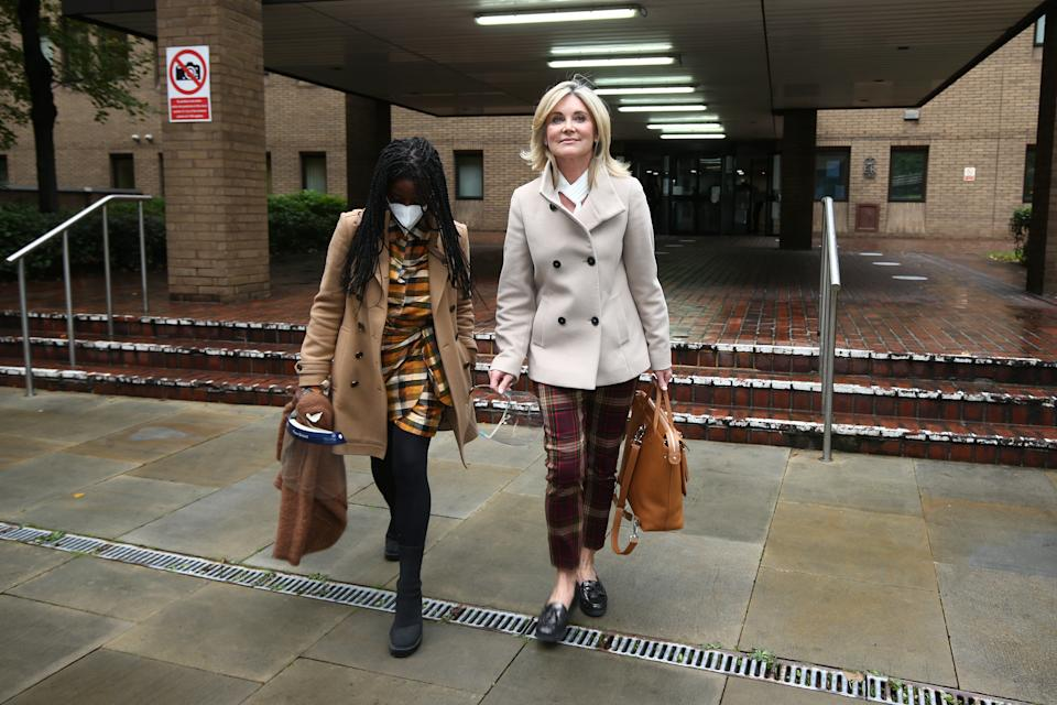 Former Blue Peter presenters Diane-Louise Jordan (left) and Anthea Turner leave Southwark Crown Court in London after giving evidence in the trial of John Leslie, who is accused of sexual assault. (Photo by Yui Mok/PA Images via Getty Images)