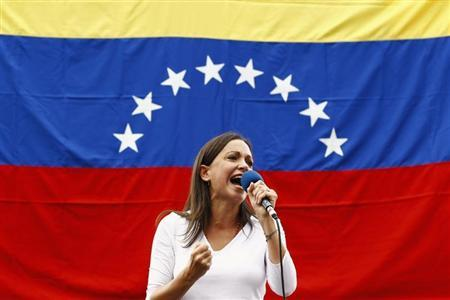 Opposition deputy Machado speaks during rally against Nicolas Maduro's government in Caracas