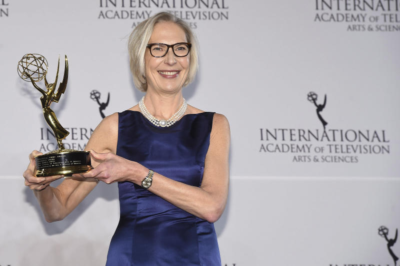 Maria Rorbye Ronn winner of the Directorate Award appears in the press room for the 44th International Emmy Awards at the New York Hilton on Monday, Nov. 21, 2016, in New York. (Photo by Charles Sykes/Invision/AP)