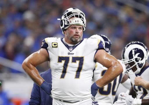 FILE - In this Sunday, Dec. 2, 2018 file photo, Los Angeles Rams offensive tackle Andrew Whitworth during the first half of an NFL football game against the Detroit Lions in Detroit. Rams offensive tackle Andrew Whitworth is in the playoffs for the seventh time in eight seasons but there is one thing he is still chasing, a postseason win. (AP Photo/Paul Sancya, File)