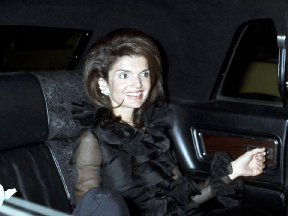 <p>Arriving for dinner with husband Aristotle at the restaurant La Cote Basque in New York City. </p>