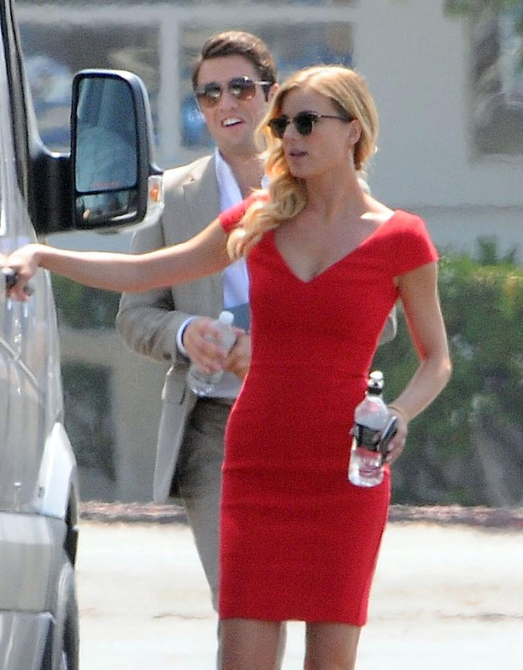 "Real-life couple Joshua Bowman and Emily VanCamp on the set of ""Revenge"" in Marina Del Rey, California on July 31, 2012."