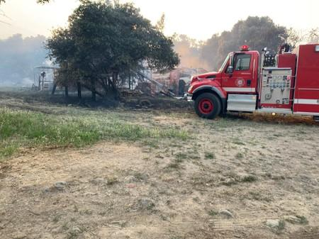 A fire truck is seen in the Capay Valley in California