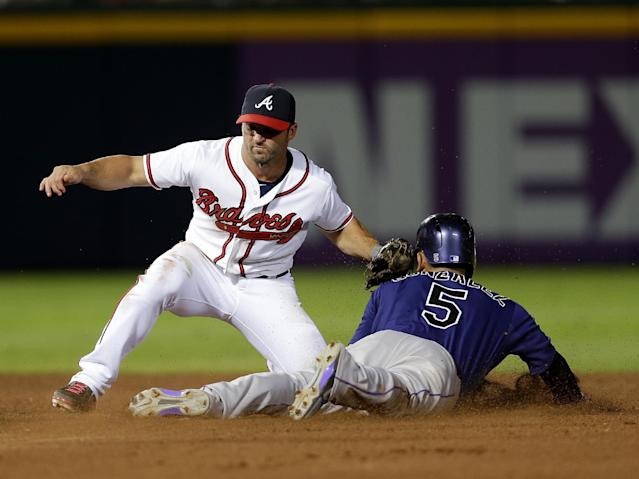 Colorado Rockies' Carlos Gonzalez, right, is tagged out by Atlanta Braves second baseman Dan Uggla, left, as he attempts to steal second base in the seventh inning of a baseball game in Atlanta, Monday July 29, 2013. (AP Photo/John Bazemore)