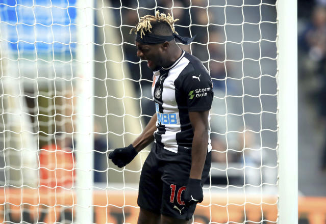 Newcastle United's Allan Saint-Maximin reacts after a missed chance on goal, during the English Premier League soccer match between Newcastle and Bournemouth, at St James' Park, in Newcastle, England, Saturday Nov. 9, 2019. (Owen Humphreys/PA via AP)