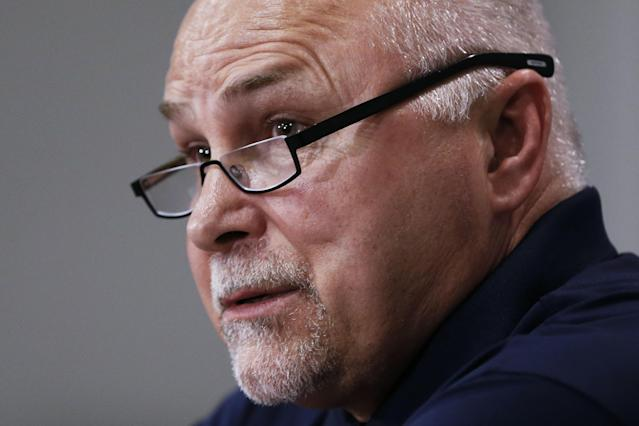 Nashville Predators head coach Barry Trotz answers questions at a news conference Monday, April 14, 2014, in Nashville, Tenn. The Predators announced earlier in the day that Trotz's contract won't be extended and they will begin looking for a new head coach. Trotz is the only head coach the NHL hockey team has had. (AP Photo/Mark Humphrey)