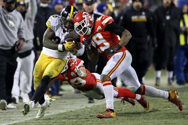The Chiefs got an up-close view of Le'Veon Bell's skills during the playoffs in 2017. (Getty Images)