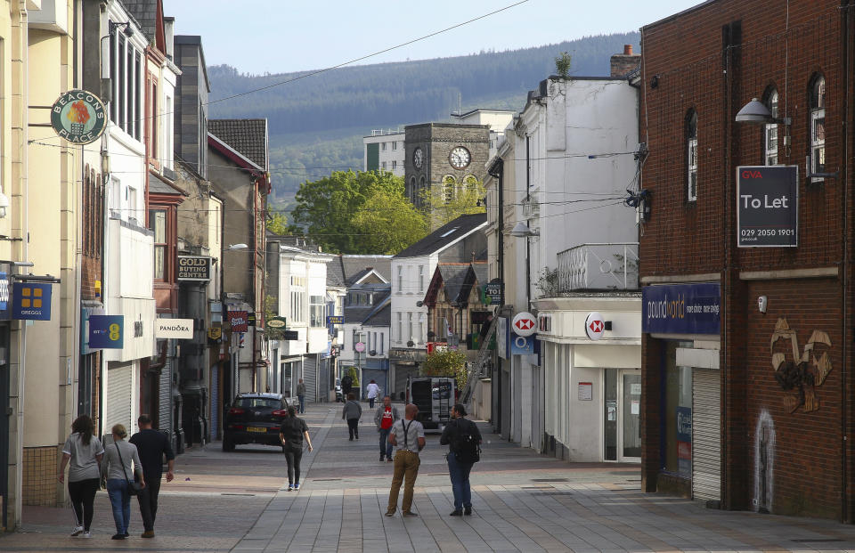 A general view shows a shopping street in Merthyr Tydfil, a town in Wales, north of Cardiff, on May 15, 2019. (Photo by GEOFF CADDICK / AFP)        (Photo credit should read GEOFF CADDICK/AFP via Getty Images)