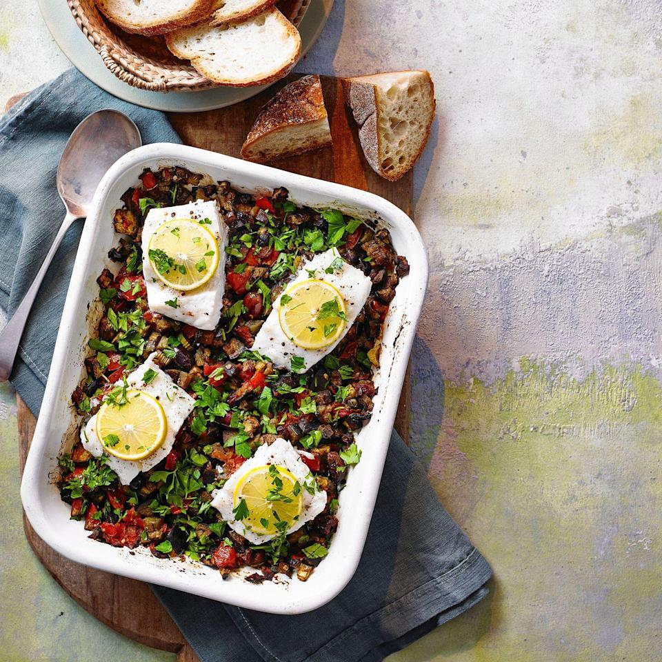 """<p>A fresh, simple traybake, perfect for mid-week meals. Make our caponata cod recipe for a fast and tasty dish to enjoy for lunch or dinner. </p><p><strong>Recipe: <a href=""""https://www.goodhousekeeping.com/uk/food/recipes/a36299186/caponata-cod-traybake/"""" rel=""""nofollow noopener"""" target=""""_blank"""" data-ylk=""""slk:Caponata Cod Traybake"""" class=""""link rapid-noclick-resp"""">Caponata Cod Traybake</a></strong></p>"""