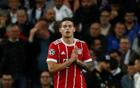 Soccer Football - Champions League Semi Final Second Leg - Real Madrid v Bayern Munich - Santiago Bernabeu, Madrid, Spain - May 1, 2018 Bayern Munich's James Rodriguez celebrates scoring their second goal REUTERS/Juan Medina