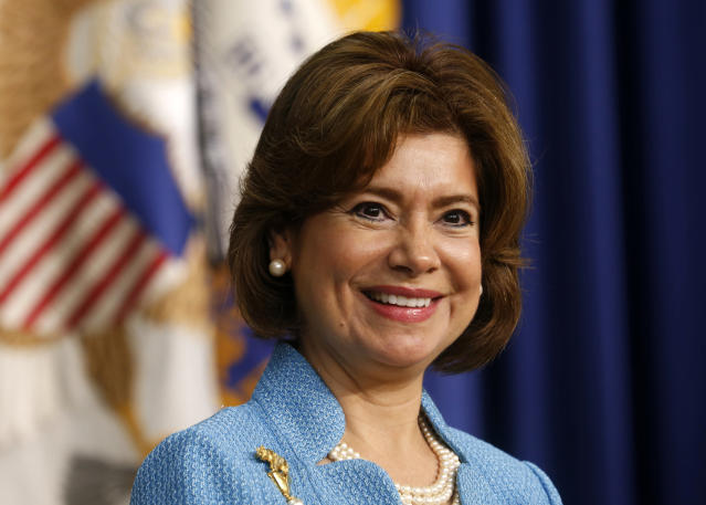 Maria Contreras-Sweet at her swearing-in as administrator of the Small Business Administration at the White House on April 7, 2014. (Kevin Lamarque / Reuters)