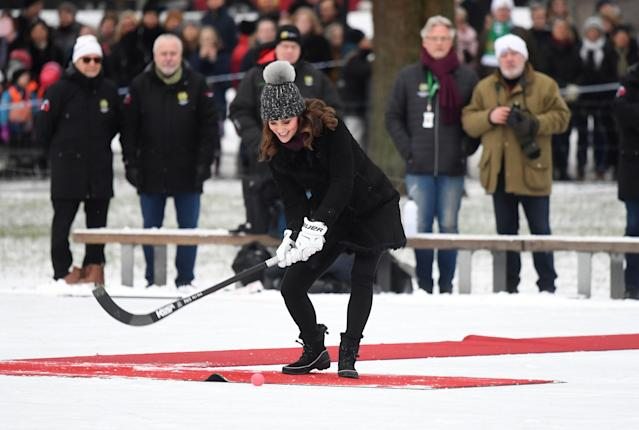 The Duchess showed off her ice hockey skills. (Photo: PA)