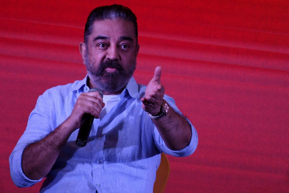 Indian actor turned politician Kamal Haasan, founder of Makkal Needhi Maiam (MNM), a regional political party, speaks during a media briefing in Chennai on November 5, 2020. (Photo by Arun SANKAR / AFP) (Photo by ARUN SANKAR/AFP via Getty Images)
