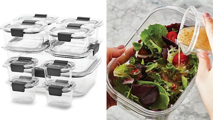 This set is made from hard, clear plastic and comes with stackable lids.