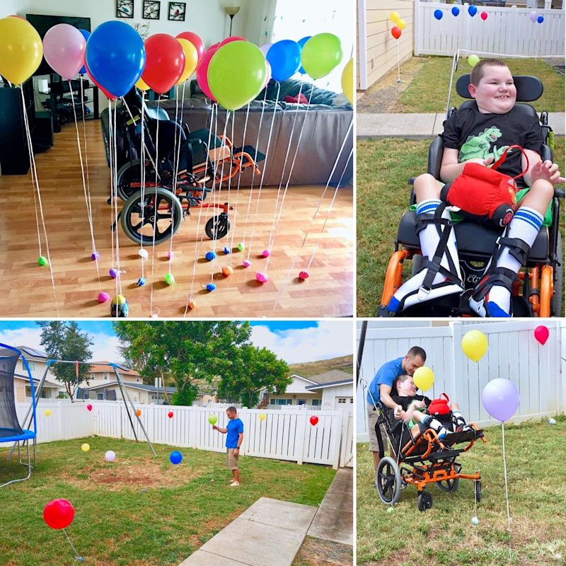 Lori's son enjoying an Easter egg hunt with balloons.
