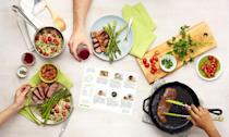 """<p>HelloFresh is another well-known meal kit delivery service. The company's kits start at $62.93, and that price includes shipping and three recipes per week, with each recipe serving two people. But the service also has kits that come with four or five recipes, and all of the kits can serve up to four people.</p> <p>When signing up for HelloFresh, customers can choose between a few different meal plans: Meat & Veggies, Veggie, Pescatarian, Family Friendly, Calorie Smart and Quick and Easy. The Family Friendly meal plan consists of kid-approved, easy-to-make meals, and the Quick and Easy plan is designed to limit prep, cook and cleanup time. Customers choose from a menu of 23 recipes each week that is equipped with a few options for every meal plan.</p> <p><a href=""""https://www.thedailymeal.com/cook/hellofresh-meal-kit?referrer=yahoo&category=beauty_food&include_utm=1&utm_medium=referral&utm_source=yahoo&utm_campaign=feed"""" rel=""""nofollow noopener"""" target=""""_blank"""" data-ylk=""""slk:For the full HelloFresh review, click here."""" class=""""link rapid-noclick-resp"""">For the full HelloFresh review, click here.</a></p>"""