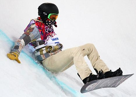 Shaun White fell during his first run in the Men's Snowboard Halfpipe Event at the 2014 Sochi Winter Olympics on Feb. 11