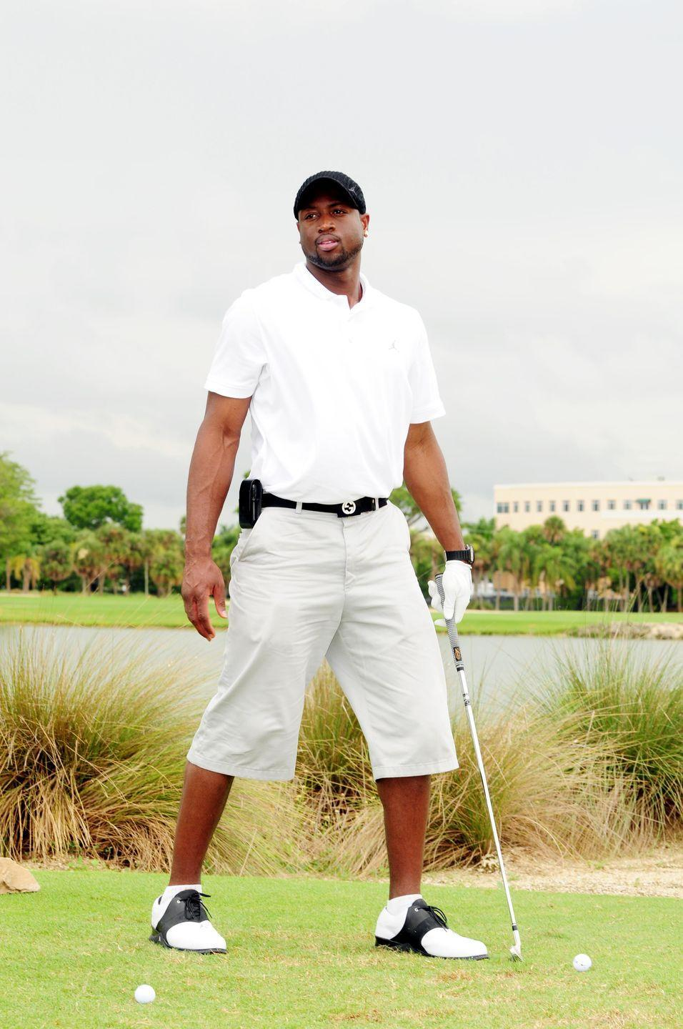 <p>Dwyane Wade attends the Summer Groove Golf Classic at Doral Golf Resort And Spa in July 2010. (Remember the cell phone belt clip?)</p>