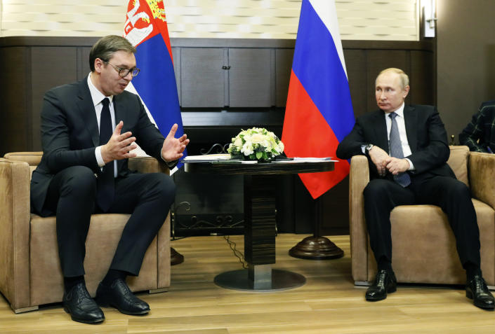Russian President Vladimir Putin, right, listens to Serbian President Aleksandar Vucic during their meeting at the Bocharov Ruchei residence in the Black Sea resort of in Sochi, Russia, Wednesday, Dec. 4, 2019. (Shamil Zhumatov, Pool Photo via AP)
