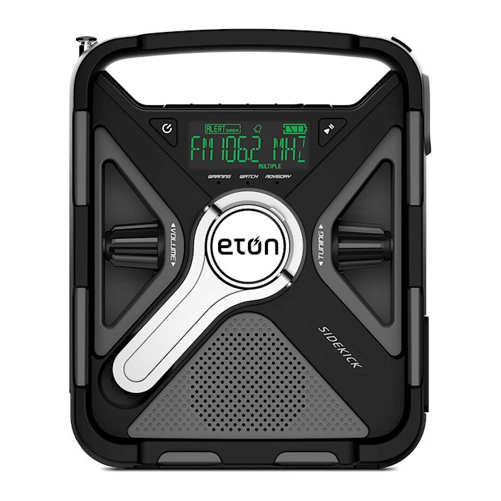 """<p><strong>Eton</strong></p><p>amazon.com</p><p><strong>$79.99</strong></p><p><a href=""""https://www.amazon.com/dp/B07SXF87LJ?tag=syn-yahoo-20&ascsubtag=%5Bartid%7C10060.g.36319121%5Bsrc%7Cyahoo-us"""" rel=""""nofollow noopener"""" target=""""_blank"""" data-ylk=""""slk:Buy Now"""" class=""""link rapid-noclick-resp"""">Buy Now</a></p><p>Capable of fulfilling both entertainment and safety needs, the Sidekick has NOAA, AM, and FM channel connections. If you want to blast tunes from your personal playlist, you can also connect via Bluetooth or an aux cord. Not only will this radio pick up the typical weather alert stations, but also Specific Area Message Encoding (SAME), which gives you access to hyper-local weather. It's easy to carry and can hold up against water and a drop or two, though some <a href=""""https://www.amazon.com/dp/B07SXF87LJ?th=1&tag=syn-yahoo-20&ascsubtag=%5Bartid%7C10060.g.36319121%5Bsrc%7Cyahoo-us"""" rel=""""nofollow noopener"""" target=""""_blank"""" data-ylk=""""slk:reviewers"""" class=""""link rapid-noclick-resp"""">reviewers</a> say the flashlight could be brighter.</p>"""