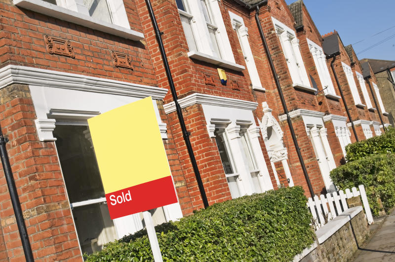 "Typical English home with a ""SOLD"" sign.CLICK HERE FOR MORE SIMILAR IMAGES"