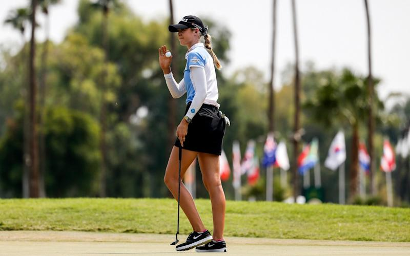 Nelly Korda waves after making her shot on the ninth hole during the final round of the LPGA's ANA Inspiration golf tournament at Mission Hills Country Club in Rancho Mirage, Calif., Sunday, Sept. 13, 2020. - AP