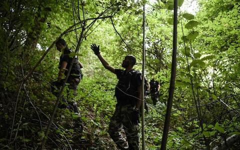 <span>French gendarmes search through a forest in Pont-de-Beauvoisin on August 30</span> <span>Credit: PHILIPPE DESMAZES/AFP </span>
