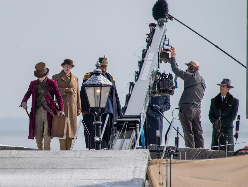 <p>Last but most certainly not least, Timothée has a brown top hat and simple wooden walking stick with a bronze handle. </p>