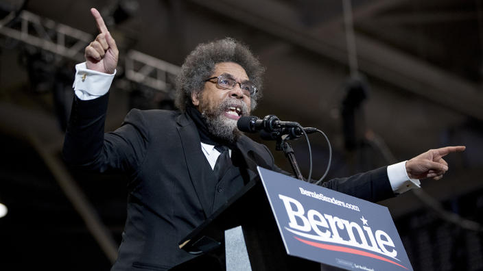 Harvard Professor Cornel West speaks at a campaign rally for Democratic presidential candidate Sen. Bernie Sanders, I-Vt., at the Whittemore Center Arena at the University of New Hampshire, Monday, Feb. 10, 2020, in Durham, N.H. (Andrew Harnik/AP)