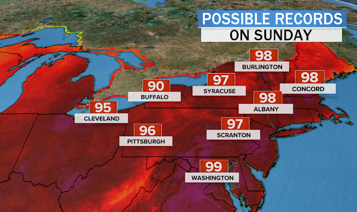 Records that could be broken by this weekend's heat wave. / Credit: CBS News