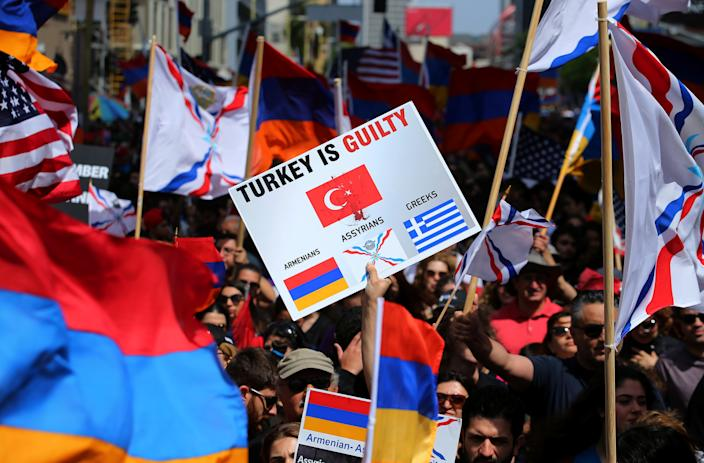 Protesters in L.A. rally in 2017 outside the Turkish Consulate in commemoration of the 102nd anniversary of the Armenian genocide. (Photo: Mike Blake/Reuters)