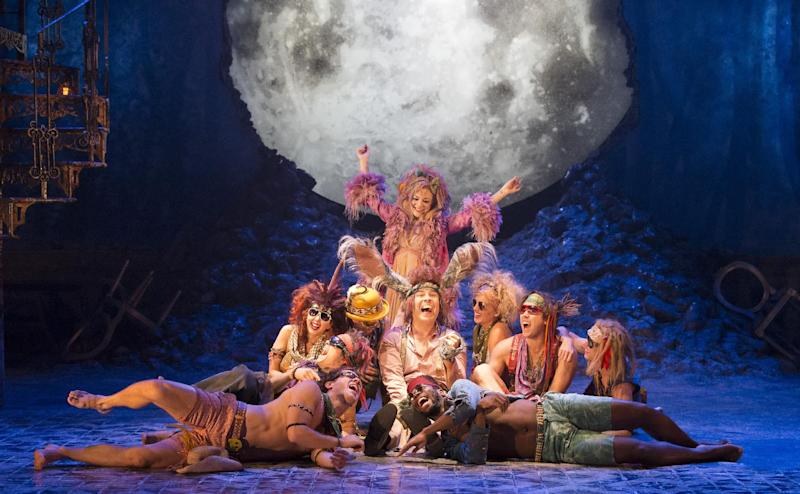 This image released by Johan Persson on Friday Sept. 20, 2013 shows Sheridan Smith, top, David Walliams, center, and the company during the production of William Shakespeare's 'A Midsummer Night's Dream' at the Noel Coward Theatre in London. 'A Midsummer Night's Dream,' directed by Michael Grandage, aims to attract young theatergoers with a fast-paced production of the magical comedy starring two small-screen stars: actress Sheridan Smith and David Walliams. (AP Photo/Johan Persson)
