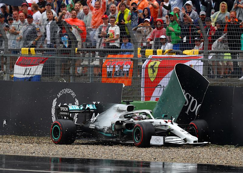Lewis Hamilton crashes during the German Grand Prix. (Photo by Mark Thompson/Getty Images)