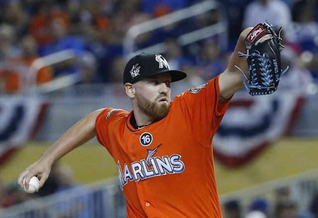 Dan Straily exited his start agains the Mets after tossing 93 pitches in 5.1 innings with no hits. (AP Photo/Wilfredo Lee)