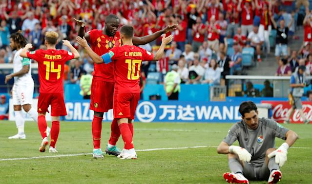 Soccer Football - World Cup - Group G - Belgium vs Panama - Fisht Stadium, Sochi, Russia - June 18, 2018 Belgium's Romelu Lukaku celebrates scoring their second goal with Eden Hazard REUTERS/Francois Lenoir