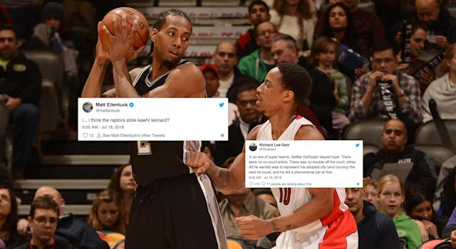Twitter has had a mixed response on the Raptors/Spurs mega-trade. (Photo by Ron Turenne/NBAE via Getty Images)