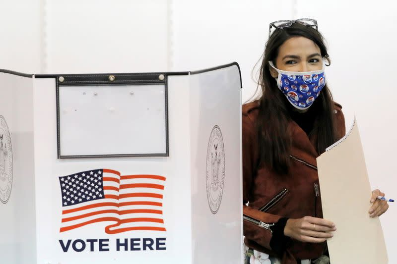 Congresswoman Alexandria Ocasio-Cortez votes early at a polling station in New York City
