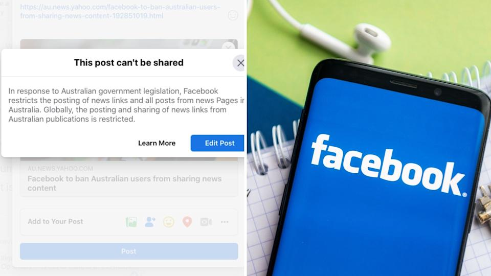 Facebook has pulled the pin on Australia. Images: Getty, Facebook
