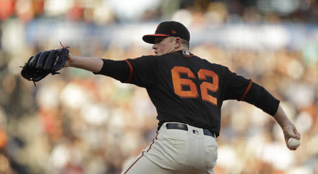 San Francisco Giants pitcher Logan Webb works against the San Diego Padres during the first inning of a baseball game Saturday, Aug. 31, 2019, in San Francisco. (AP Photo/Ben Margot)