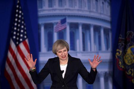 "Britain's Prime Minister Teresa May arrives to speak during the 2017 ""Congress of Tomorrow"" Joint Republican Issues Conference in Philadelphia, Pennsylvania, U.S."