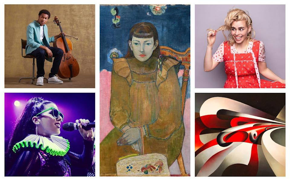 Clockwise from bottom left: Six; Sheku Kanneh-Mason; Gauguin and the Impressionists; I Hate Suzie; Tullio Crali