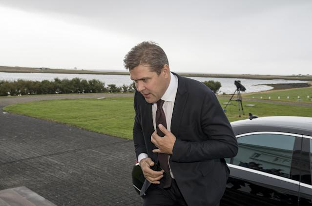 Prime Minister Bjarni Benediktsson arrives at the presidential residence in Bessastadir, Iceland, after his government collapsed last week. (Asgeir Asgeirsson / Reuters)