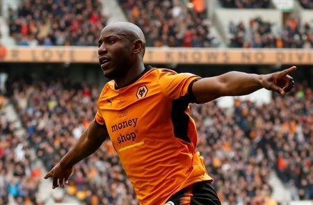 FILE PHOTO: Soccer Football - Championship - Wolverhampton Wanderers vs Birmingham City - Molineux Stadium, Wolverhampton, Britain - April 15, 2018 Wolverhampton Wanderers' Benik Afobe celebrates scoring their second goal Action Images via Reuters/Andrew Boyers