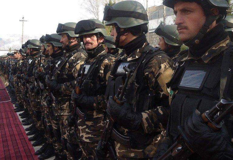 Afghan security forces during a ceremony to hand over security control in Fayz Abad, Badakhshan on January 24, 2012