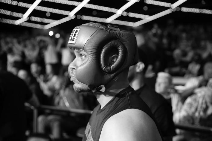 Javier Colon awaits his introduction before entering the ring during the NYPD Boxing Championships at the Theater at Madison Square Garden on June 8, 2017. (Gordon Donovan/Yahoo News)